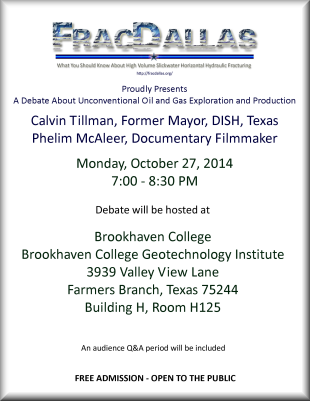 Calvin Tillman - Phelim McAleer debate on Monday, October 27, 2014 at Brookhaven College Geotechnology Institute