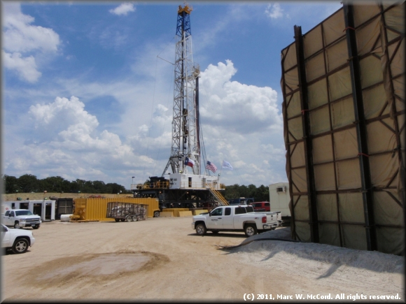 Well site during drilling phase